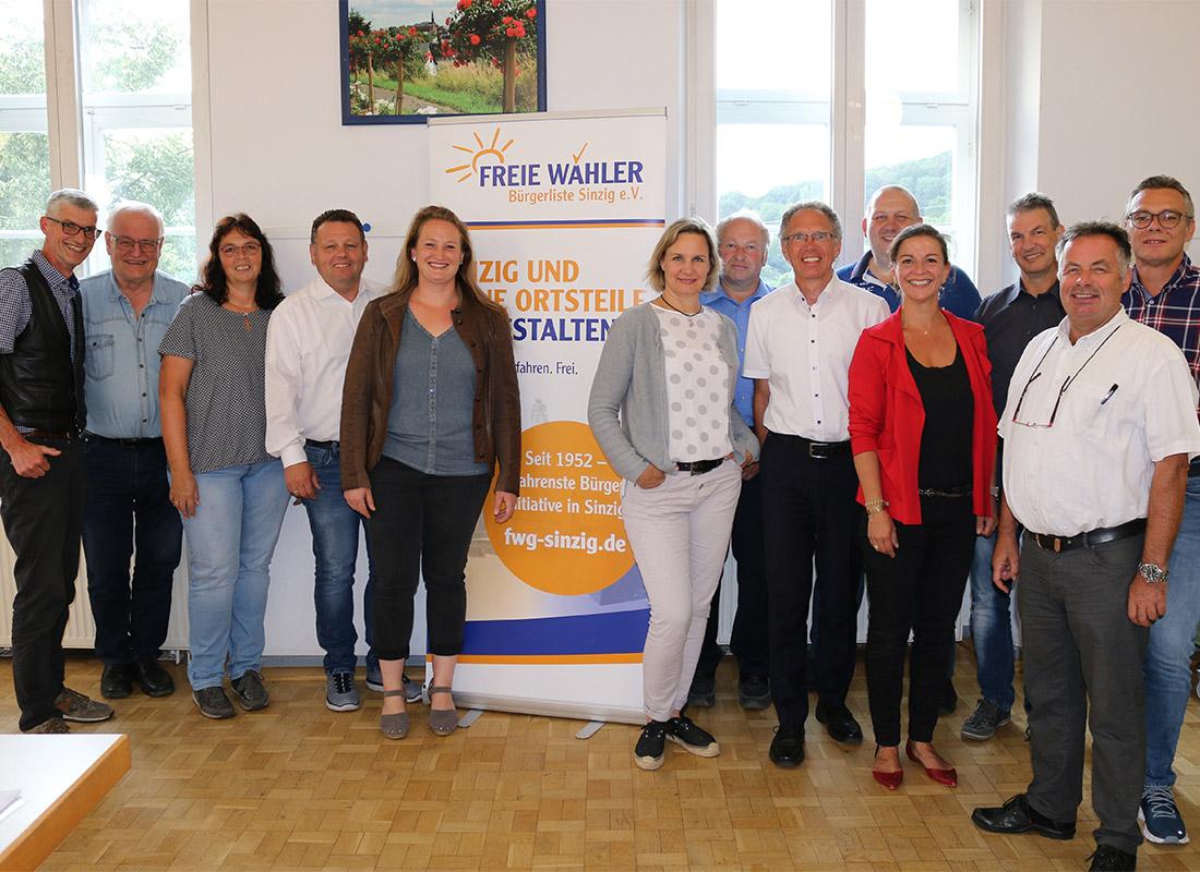 Die neu gewählten Mandatsträger der Freien Wähler Sinzig nach der Kommunalwahl 2019