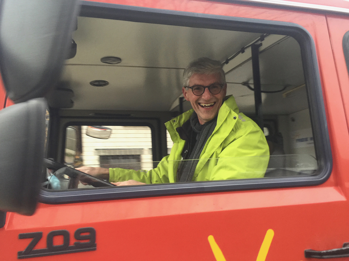 Direktkandidat Reiner Friedsam on Tour mit dem Wahlmobil der Freien Wähler