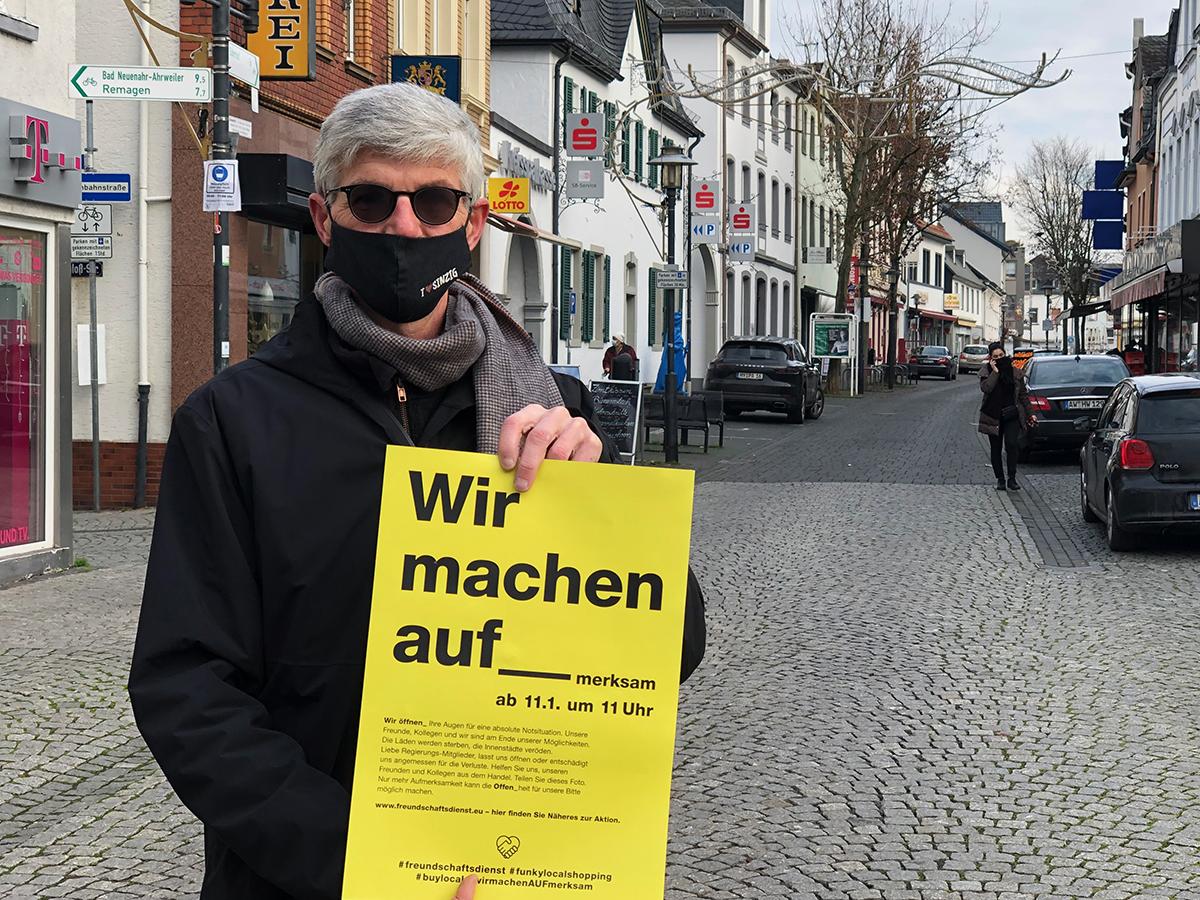 Landtagskandidat Reiner Friedsam unterstützt bundeesweite Aktion für den existentiell betroffenen Einzelhandel